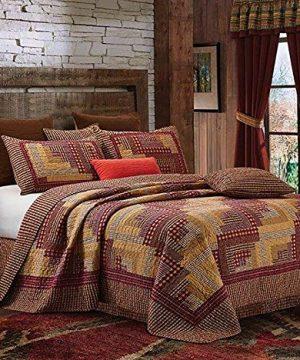 Virah Bella Collection Phyllis Dobbs Montana Cabin RedTan Polyester FullQueen Quilt Bedding Set With 2 Standard Shams 0 300x360