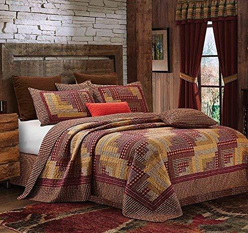 Virah Bella Collection Phyllis Dobbs Montana Cabin RedTan Polyester FullQueen Quilt Bedding Set With 2 Standard Shams 0
