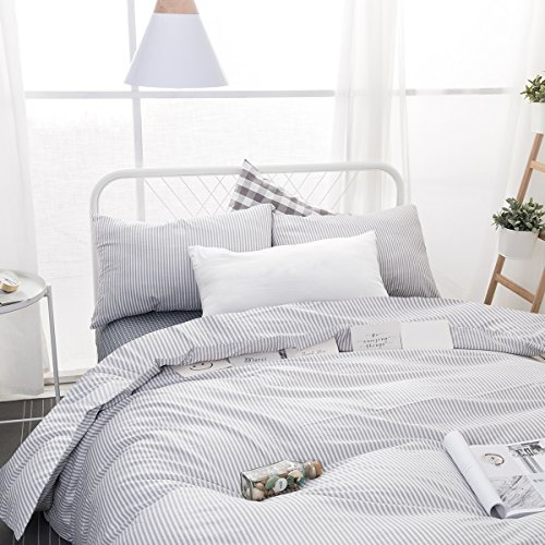 Wake In Cloud Gray White Striped Duvet Cover Set 100 Cotton Bedding Grey Vertical Ticking Stripes Pattern Printed On White With Zipper Closure 3pcs Full Size 0 0