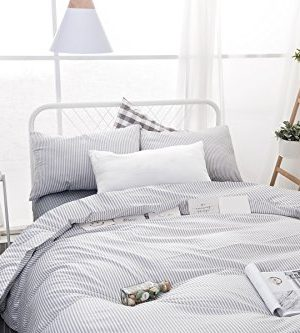 Wake In Cloud Gray White Striped Duvet Cover Set 100 Cotton Bedding Grey Vertical Ticking Stripes Pattern Printed On White With Zipper Closure 3pcs Full Size 0 1 300x333
