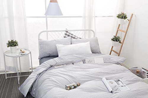 Wake In Cloud Gray White Striped Duvet Cover Set 100 Cotton Bedding Grey Vertical Ticking Stripes Pattern Printed On White With Zipper Closure 3pcs Full Size 0 1