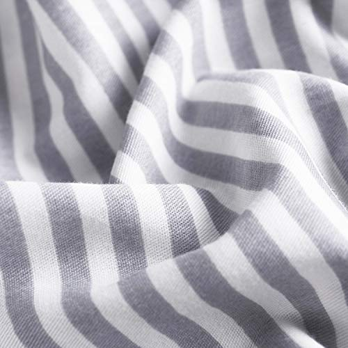 Wake In Cloud Gray White Striped Duvet Cover Set 100 Cotton Bedding Grey Vertical Ticking Stripes Pattern Printed On White With Zipper Closure 3pcs Full Size 0 2
