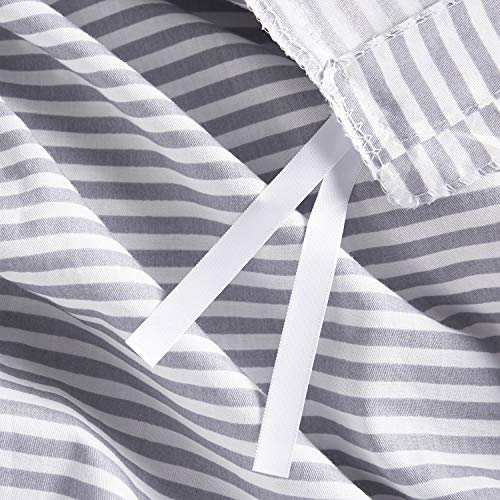 Wake In Cloud Gray White Striped Duvet Cover Set 100 Cotton Bedding Grey Vertical Ticking Stripes Pattern Printed On White With Zipper Closure 3pcs Full Size 0 4