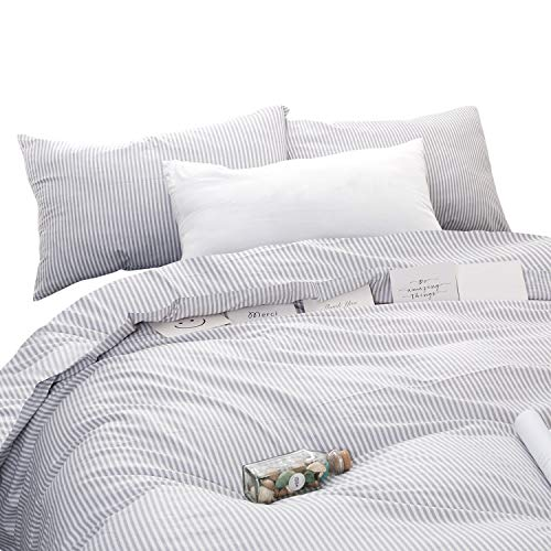 Wake In Cloud Gray White Striped Duvet Cover Set 100 Cotton Bedding Grey Vertical Ticking Stripes Pattern Printed On White With Zipper Closure 3pcs Full Size 0