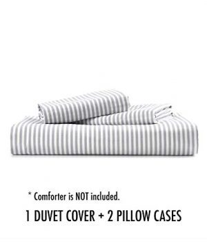 Wake In Cloud Gray White Striped Duvet Cover Set 100 Cotton Bedding Grey Vertical Ticking Stripes Pattern Printed On White With Zipper Closure 3pcs Twin Size 0 5 300x360