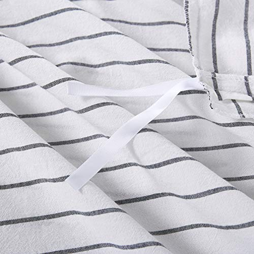 Wake In Cloud White Striped Duvet Cover Set 100 Washed Cotton Bedding Black Vertical Ticking Stripes Pattern Printed On White With Zipper Closure 3pcs Twin Size 0 4