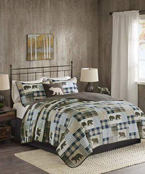 Woolrich Twin Falls Oversized 4 Piece Quilt Set BrownBlue FullQueen 0 300x360