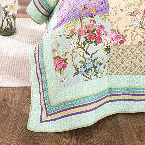 YAYIDAY Cotton Patchwork Bedspread Botanical Quilt Sets King Size Summer Bedding Reversible Breathable Bed Blanket Floral Quilted Coverlet With Pillow Shams Country Rustic Bohemian Pattern Rural K 0 0