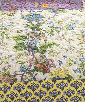 YAYIDAY Cotton Patchwork Bedspread Botanical Quilt Sets King Size Summer Bedding Reversible Breathable Bed Blanket Floral Quilted Coverlet With Pillow Shams Country Rustic Bohemian Pattern Rural K 0 1 300x360