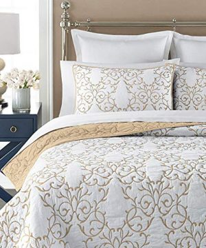 Mixinni Reversible 100 Cotton 3 Piece Beige Embroidery Pattern Elegant Quilt Set With Embroidered Decorative Shams Soft BedspreadCoverlet Set King 0 0 300x360