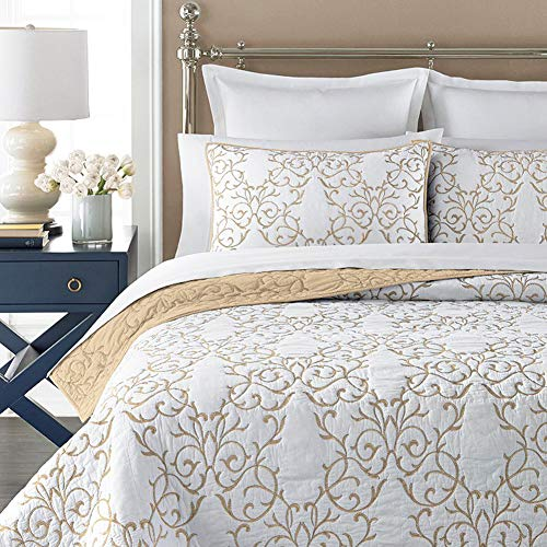 Mixinni Reversible 100 Cotton 3 Piece Beige Embroidery Pattern Elegant Quilt Set With Embroidered Decorative Shams Soft BedspreadCoverlet Set King 0 0
