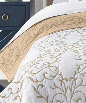 Mixinni Reversible 100 Cotton 3 Piece Beige Embroidery Pattern Elegant Quilt Set With Embroidered Decorative Shams Soft BedspreadCoverlet Set King 0 1 300x360
