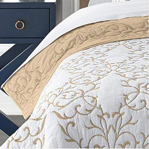 Mixinni Reversible 100 Cotton 3 Piece Beige Embroidery Pattern Elegant Quilt Set With Embroidered Decorative Shams Soft BedspreadCoverlet Set King 0 1