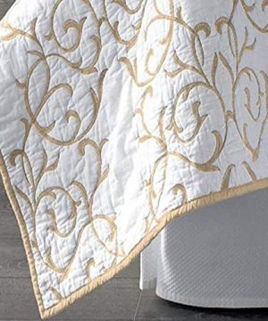 Mixinni Reversible 100 Cotton 3 Piece Beige Embroidery Pattern Elegant Quilt Set With Embroidered Decorative Shams Soft BedspreadCoverlet Set King 0 2 300x360