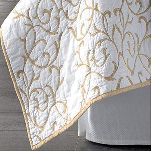 Mixinni Reversible 100 Cotton 3 Piece Beige Embroidery Pattern Elegant Quilt Set With Embroidered Decorative Shams Soft BedspreadCoverlet Set King 0 2