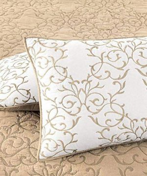 Mixinni Reversible 100 Cotton 3 Piece Beige Embroidery Pattern Elegant Quilt Set With Embroidered Decorative Shams Soft BedspreadCoverlet Set King 0 3 300x360