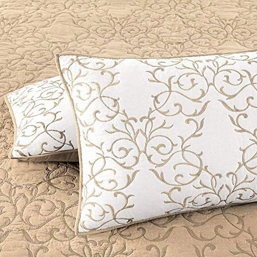 Mixinni Reversible 100 Cotton 3 Piece Beige Embroidery Pattern Elegant Quilt Set With Embroidered Decorative Shams Soft BedspreadCoverlet Set King 0 3