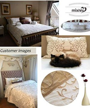 Mixinni Reversible 100 Cotton 3 Piece Beige Embroidery Pattern Elegant Quilt Set With Embroidered Decorative Shams Soft BedspreadCoverlet Set King 0 4 300x360