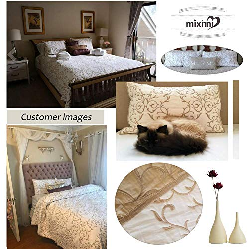 Mixinni Reversible 100 Cotton 3 Piece Beige Embroidery Pattern Elegant Quilt Set With Embroidered Decorative Shams Soft BedspreadCoverlet Set King 0 4