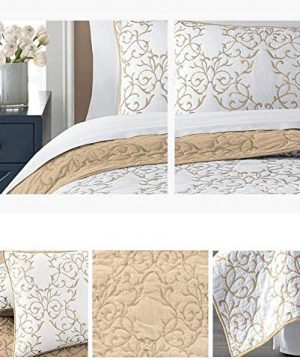 Mixinni Reversible 100 Cotton 3 Piece Beige Embroidery Pattern Elegant Quilt Set With Embroidered Decorative Shams Soft BedspreadCoverlet Set King 0 5 300x360