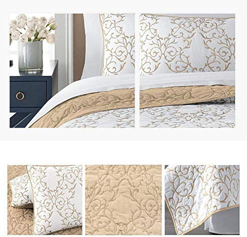 Mixinni Reversible 100 Cotton 3 Piece Beige Embroidery Pattern Elegant Quilt Set With Embroidered Decorative Shams Soft BedspreadCoverlet Set King 0 5