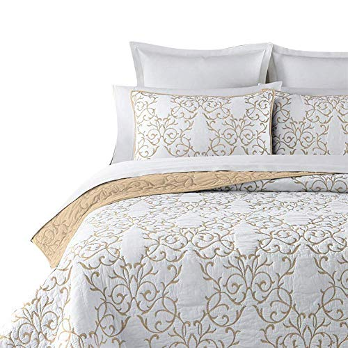 Mixinni Reversible 100 Cotton 3 Piece Beige Embroidery Pattern Elegant Quilt Set With Embroidered Decorative Shams Soft BedspreadCoverlet Set King 0