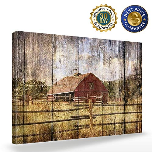 16x24in Canvas Wall Art Farmhouse Chalet Barn Wood HD Picture Oil Painting Vintage Artwork Decoration With Wood Frame Ready To Hang For Living RoomDining RoomBedroom 0 0