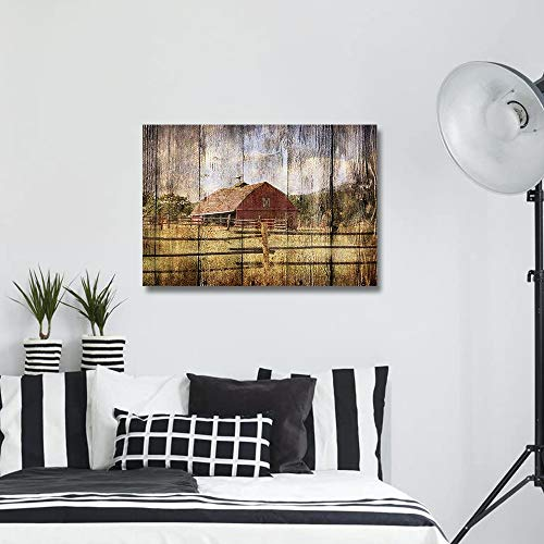 16x24in Canvas Wall Art Farmhouse Chalet Barn Wood HD Picture Oil Painting Vintage Artwork Decoration With Wood Frame Ready To Hang For Living RoomDining RoomBedroom 0 1