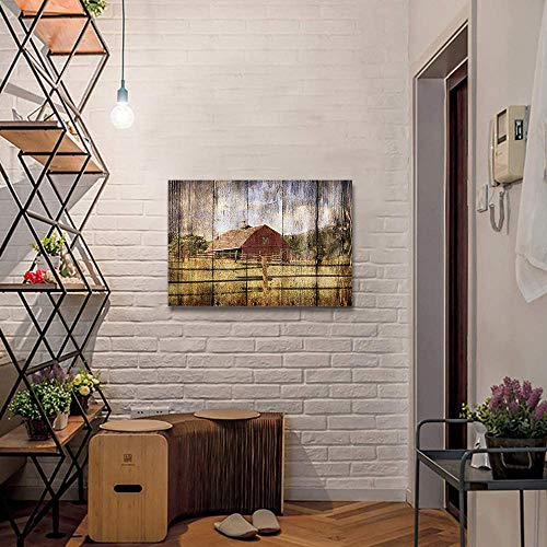 16x24in Canvas Wall Art Farmhouse Chalet Barn Wood HD Picture Oil Painting Vintage Artwork Decoration With Wood Frame Ready To Hang For Living RoomDining RoomBedroom 0 3