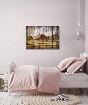 16x24in Canvas Wall Art Farmhouse Chalet Barn Wood HD Picture Oil Painting Vintage Artwork Decoration With Wood Frame Ready To Hang For Living RoomDining RoomBedroom 0 4 300x360