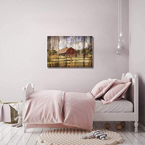 16x24in Canvas Wall Art Farmhouse Chalet Barn Wood HD Picture Oil Painting Vintage Artwork Decoration With Wood Frame Ready To Hang For Living RoomDining RoomBedroom 0 4