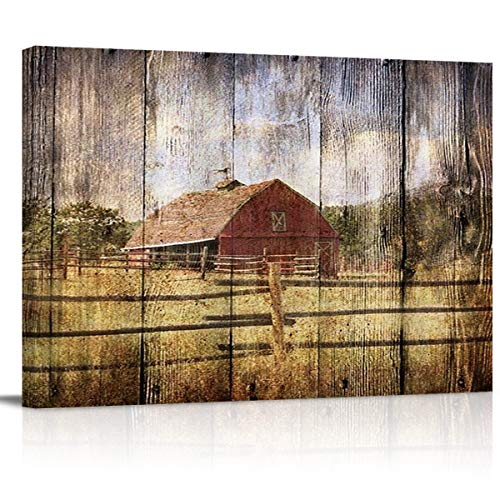 16x24in Canvas Wall Art Farmhouse Chalet Barn Wood HD Picture Oil Painting Vintage Artwork Decoration With Wood Frame Ready To Hang For Living RoomDining RoomBedroom 0