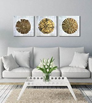 Abstract Metallic Gold Champagne Handmade Oil Painting 3 Panels Circles Modern Wall Art Gold A Inner Framed 0 0 300x335