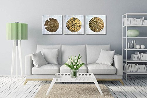 Abstract Metallic Gold Champagne Handmade Oil Painting 3 Panels Circles Modern Wall Art Gold A Inner Framed 0 0