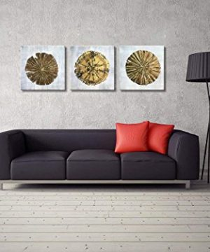 Abstract Metallic Gold Champagne Handmade Oil Painting 3 Panels Circles Modern Wall Art Gold A Inner Framed 0 1 300x360