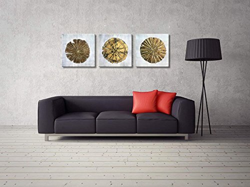 Abstract Metallic Gold Champagne Handmade Oil Painting 3 Panels Circles Modern Wall Art Gold A Inner Framed 0 1