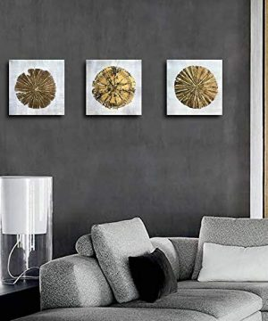 Abstract Metallic Gold Champagne Handmade Oil Painting 3 Panels Circles Modern Wall Art Gold A Inner Framed 0 3 300x360
