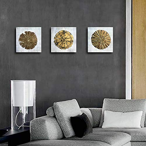 Abstract Metallic Gold Champagne Handmade Oil Painting 3 Panels Circles Modern Wall Art Gold A Inner Framed 0 3