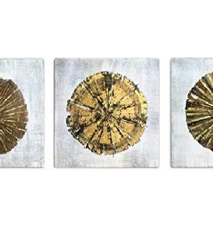 Abstract Metallic Gold Champagne Handmade Oil Painting 3 Panels Circles Modern Wall Art Gold A Inner Framed 0 300x333