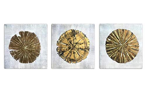 Abstract Metallic Gold Champagne Handmade Oil Painting 3 Panels Circles Modern Wall Art Gold A Inner Framed 0