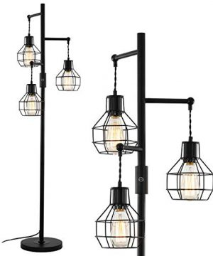 Airposta 3 Lights Industrial Floor Lamp With OnOff Dimmable Switch Wire Cage Rustic Tree Standing Lamp 40W Retro Torchiere Floor Light For Living Room Reading Office Bedroom 2 Years Warranty 0 300x360