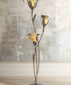 Artistic Floor Lamp Bronze And Gold Lily Shaped Amber Glass Flower Lights For Living Room Bedroom Uplight Franklin Iron Works 0 300x360