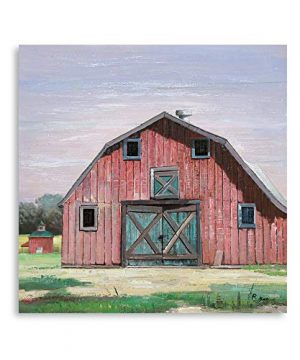 B BLINGBLING Farmhouse Decor For The Home Vintage Barn Wall Art Decor Old Red Barn Painting Framed Easy To Hang 24x24in 0 300x360
