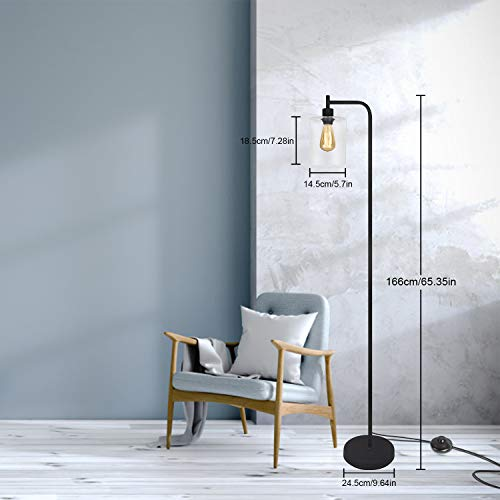 Black LED Floor Lamp Acaxin Standing Lamp With Hanging Glass Lamp Shade Industrial Light With Halogen Bulb For Living Room Bedroom 0 0
