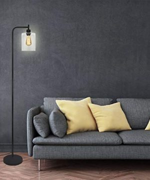 Black LED Floor Lamp Acaxin Standing Lamp With Hanging Glass Lamp Shade Industrial Light With Halogen Bulb For Living Room Bedroom 0 1 300x360