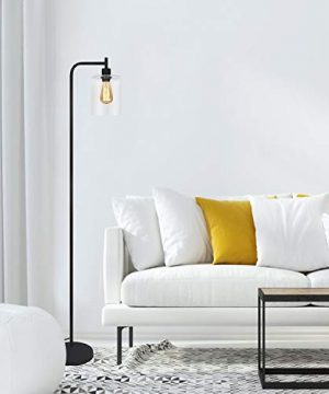 Black LED Floor Lamp Acaxin Standing Lamp With Hanging Glass Lamp Shade Industrial Light With Halogen Bulb For Living Room Bedroom 0 2 300x360