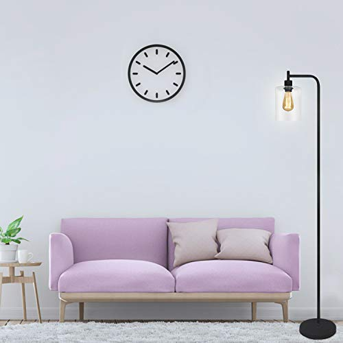Black LED Floor Lamp Acaxin Standing Lamp With Hanging Glass Lamp Shade Industrial Light With Halogen Bulb For Living Room Bedroom 0 3