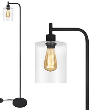 Black LED Floor Lamp Acaxin Standing Lamp With Hanging Glass Lamp Shade Industrial Light With Halogen Bulb For Living Room Bedroom 0 300x360