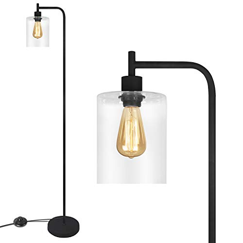 Black LED Floor Lamp Acaxin Standing Lamp With Hanging Glass Lamp Shade Industrial Light With Halogen Bulb For Living Room Bedroom 0