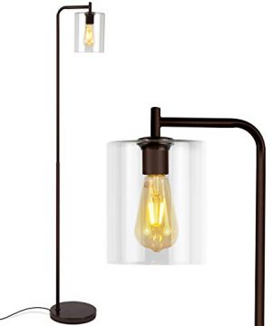Brightech Elizabeth Industrial Floor Lamp With Glass Shade Edison Bulb Indoor Pole Light To Match Living Room Or Bedroom In Farmhouse Vintage Or Rustic Style Standing Tall Lighting Bronze 0 300x360